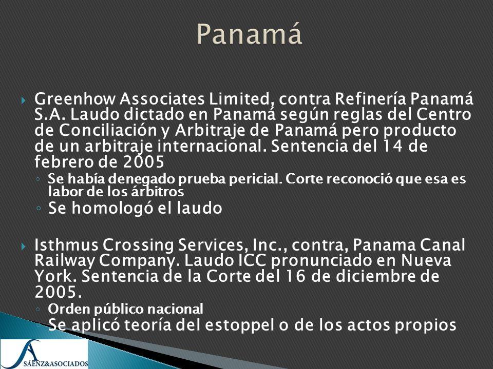 Greenhow Associates Limited, contra Refinería Panamá S.A. Laudo dictado en Panamá según reglas del Centro de Conciliación y Arbitraje de Panamá pero p
