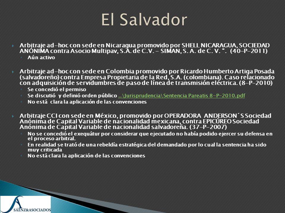 Arbitraje ad-hoc con sede en Nicaragua promovido por SHELL NICARAGUA, SOCIEDAD ANÓNIMA contra Asocio Multipav, S.A. de C.V. - SIMAN, S. A. de C. V.