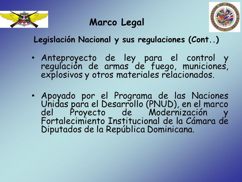 Marco Legal Legislación Nacional y sus regulaciones (Cont..) Anteproyecto de ley para el control y regulación de armas de fuego, municiones, explosivo