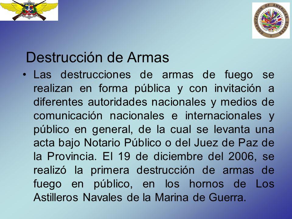 Destrucción de Armas Las destrucciones de armas de fuego se realizan en forma pública y con invitación a diferentes autoridades nacionales y medios de