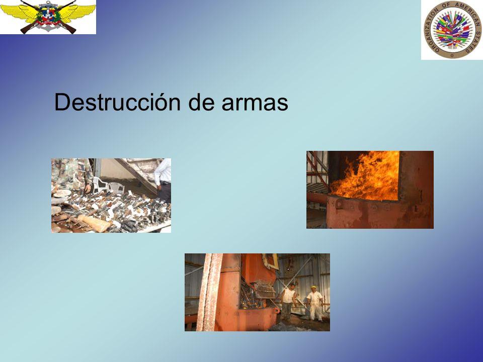 Destrucción de Municiones Las municiones de armas de bajo calibre se destruyen por incineración.