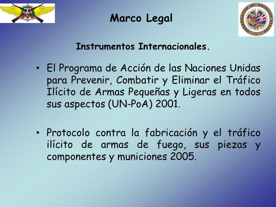 Marco Legal La Convención Interamericana contra la Fabricación y el Tráfico Ilícitos de Armas de Fuego, Municiones, Explosivos y otros Materiales Relacionados (CIFTA) 1997.