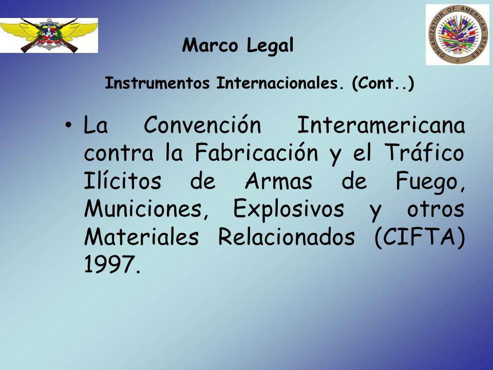Marco Legal Legislación Nacional y sus regulaciones SectorReferencia (Ley)Comentarios Ley sobre comercio, porte y tenencia de armas de fuego.