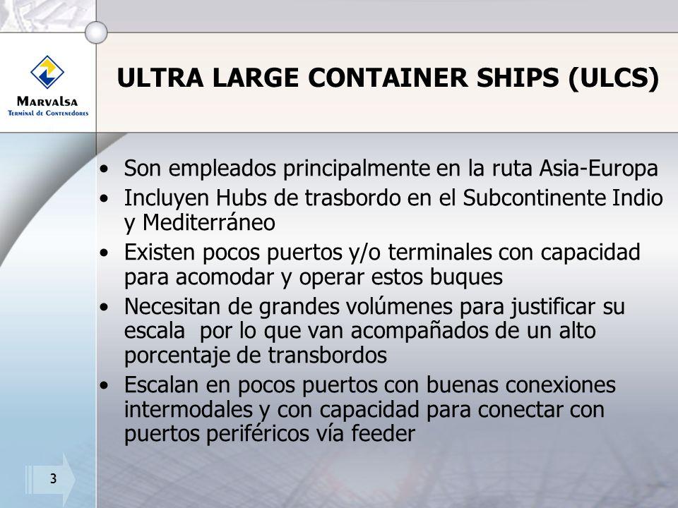 3 ULTRA LARGE CONTAINER SHIPS (ULCS) Son empleados principalmente en la ruta Asia-Europa Incluyen Hubs de trasbordo en el Subcontinente Indio y Mediterráneo Existen pocos puertos y/o terminales con capacidad para acomodar y operar estos buques Necesitan de grandes volúmenes para justificar su escala por lo que van acompañados de un alto porcentaje de transbordos Escalan en pocos puertos con buenas conexiones intermodales y con capacidad para conectar con puertos periféricos vía feeder