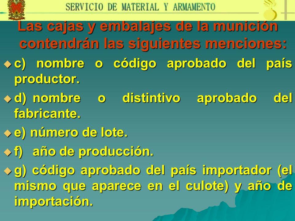 Las cajas y embalajes de la munición contendrán las siguientes menciones: c) nombre o código aprobado del país productor. c) nombre o código aprobado