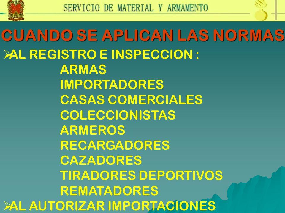 CUANDO SE APLICAN LAS NORMAS AL REGISTRO E INSPECCION : ARMAS IMPORTADORES CASAS COMERCIALES COLECCIONISTAS ARMEROS RECARGADORES CAZADORES TIRADORES D