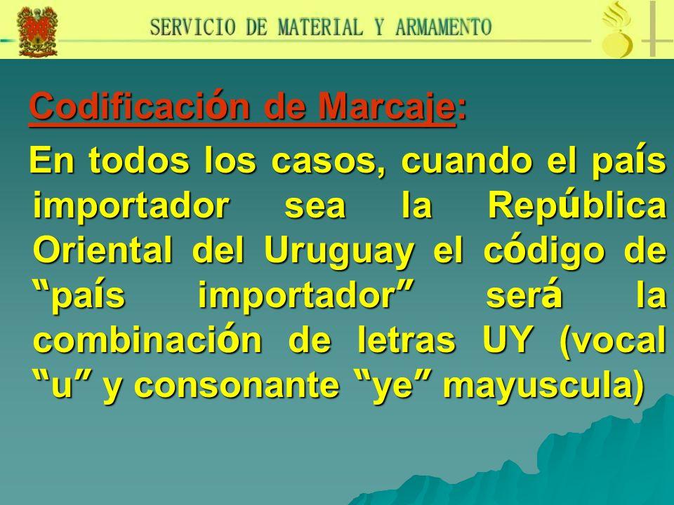Codificaci ó n de Marcaje: Codificaci ó n de Marcaje: En todos los casos, cuando el pa í s importador sea la Rep ú blica Oriental del Uruguay el c ó d