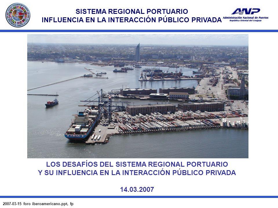 SISTEMA REGIONAL PORTUARIO INFLUENCIA EN LA INTERACCIÓN PÚBLICO PRIVADA 2007-03-15 foro iberoamericano.ppt, fp 1 LOS DESAFÍOS DEL SISTEMA REGIONAL POR