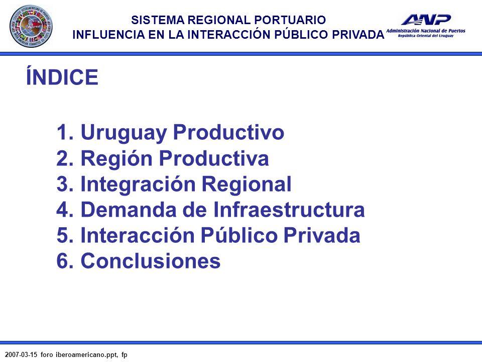 SISTEMA REGIONAL PORTUARIO INFLUENCIA EN LA INTERACCIÓN PÚBLICO PRIVADA 2007-03-15 foro iberoamericano.ppt, fp 2 1. Uruguay Productivo 2. Región Produ