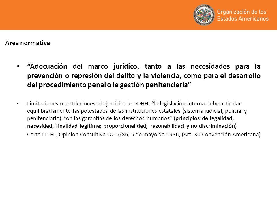 Area normativa Adecuación del marco jurídico, tanto a las necesidades para la prevención o represión del delito y la violencia, como para el desarroll