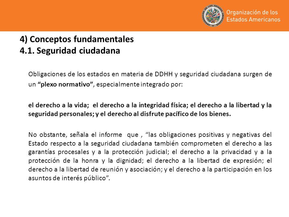 4) Conceptos fundamentales 4.1. Seguridad ciudadana Obligaciones de los estados en materia de DDHH y seguridad ciudadana surgen de un plexo normativo,