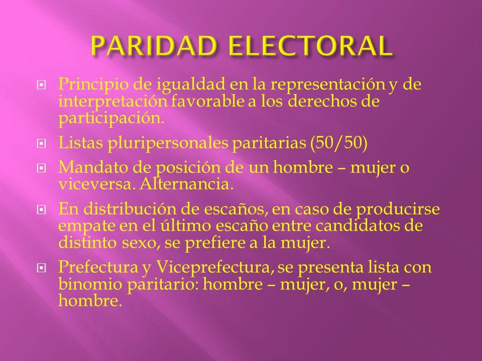 Principio de igualdad en la representación y de interpretación favorable a los derechos de participación. Listas pluripersonales paritarias (50/50) Ma