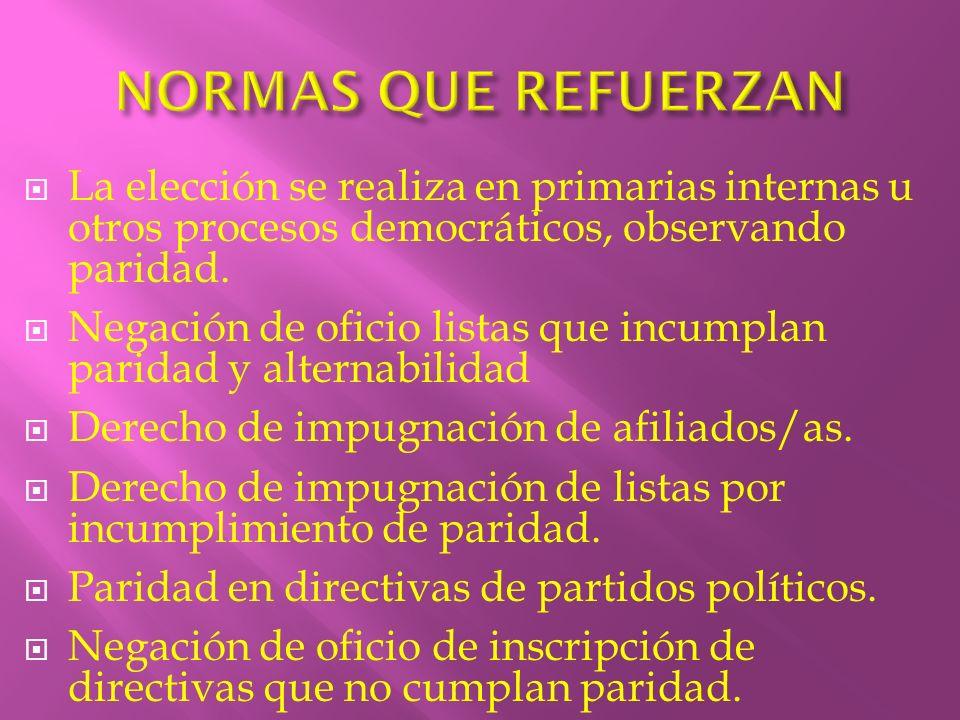 La elección se realiza en primarias internas u otros procesos democráticos, observando paridad. Negación de oficio listas que incumplan paridad y alte