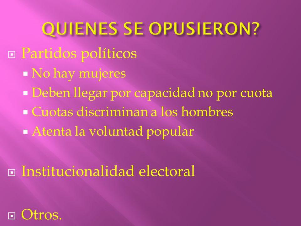 Partidos políticos No hay mujeres Deben llegar por capacidad no por cuota Cuotas discriminan a los hombres Atenta la voluntad popular Institucionalida