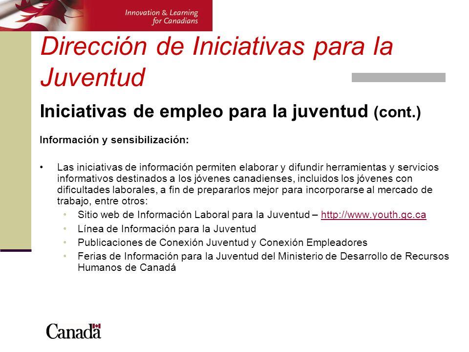 Dirección de Iniciativas para la Juventud Iniciativas de empleo para la juventud (cont.) Información y sensibilización: Las iniciativas de información