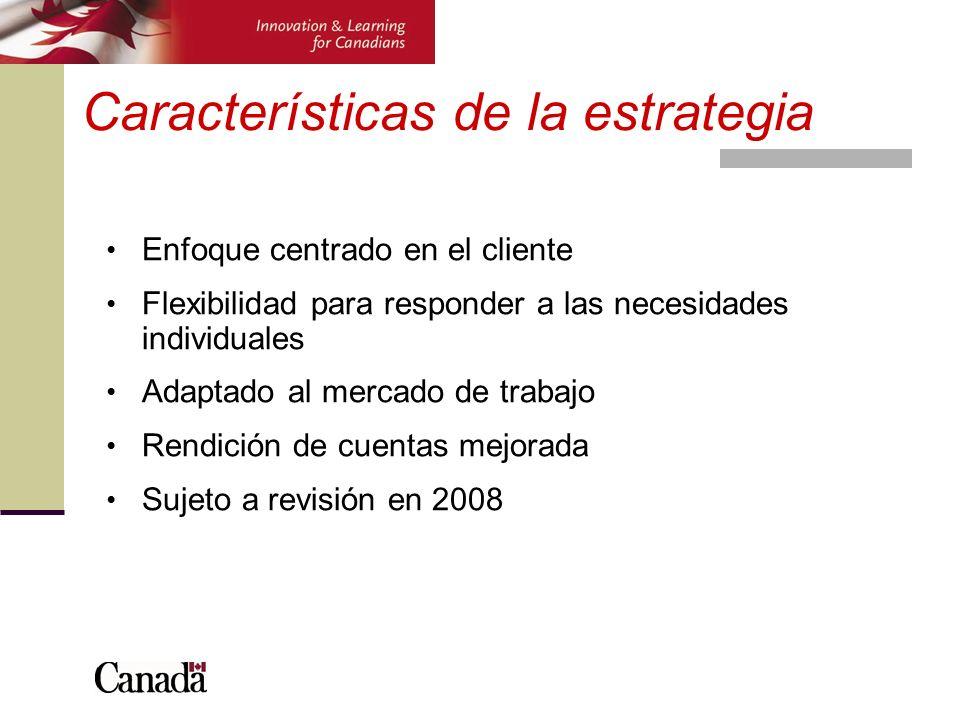 Características de la estrategia Enfoque centrado en el cliente Flexibilidad para responder a las necesidades individuales Adaptado al mercado de trab