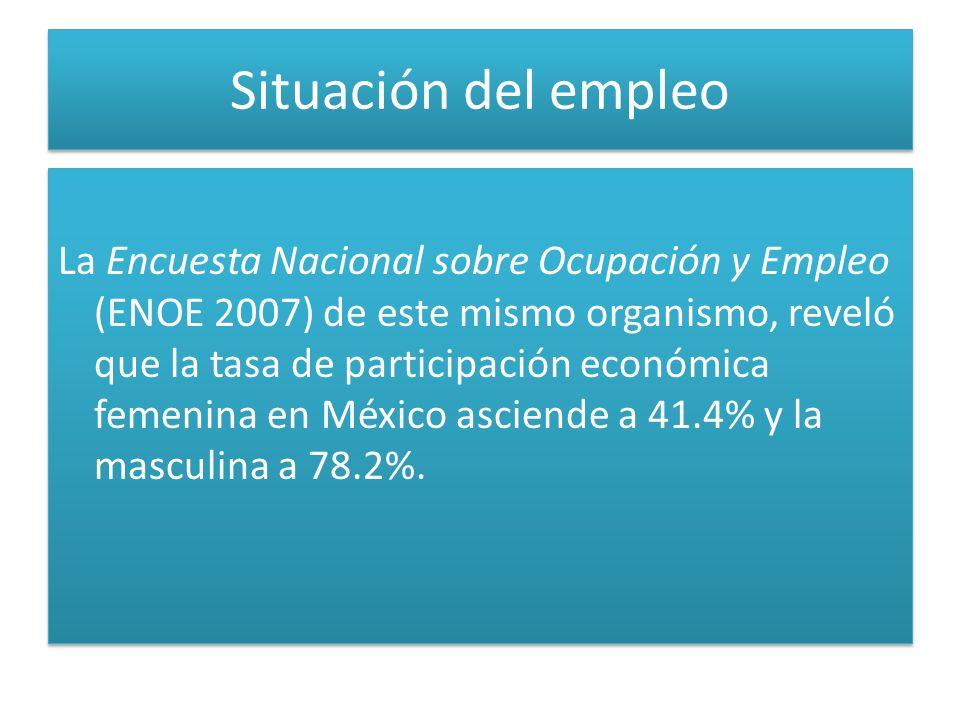 Situación del empleo La Encuesta Nacional sobre Ocupación y Empleo (ENOE 2007) de este mismo organismo, reveló que la tasa de participación económica femenina en México asciende a 41.4% y la masculina a 78.2%.
