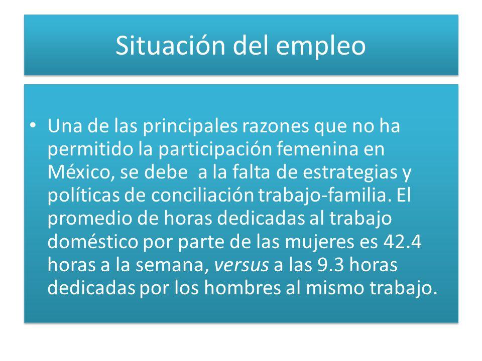 Situación del empleo Una de las principales razones que no ha permitido la participación femenina en México, se debe a la falta de estrategias y políticas de conciliación trabajo-familia.