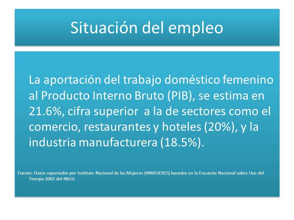 Situación del empleo La aportación del trabajo doméstico femenino al Producto Interno Bruto (PIB), se estima en 21.6%, cifra superior a la de sectores