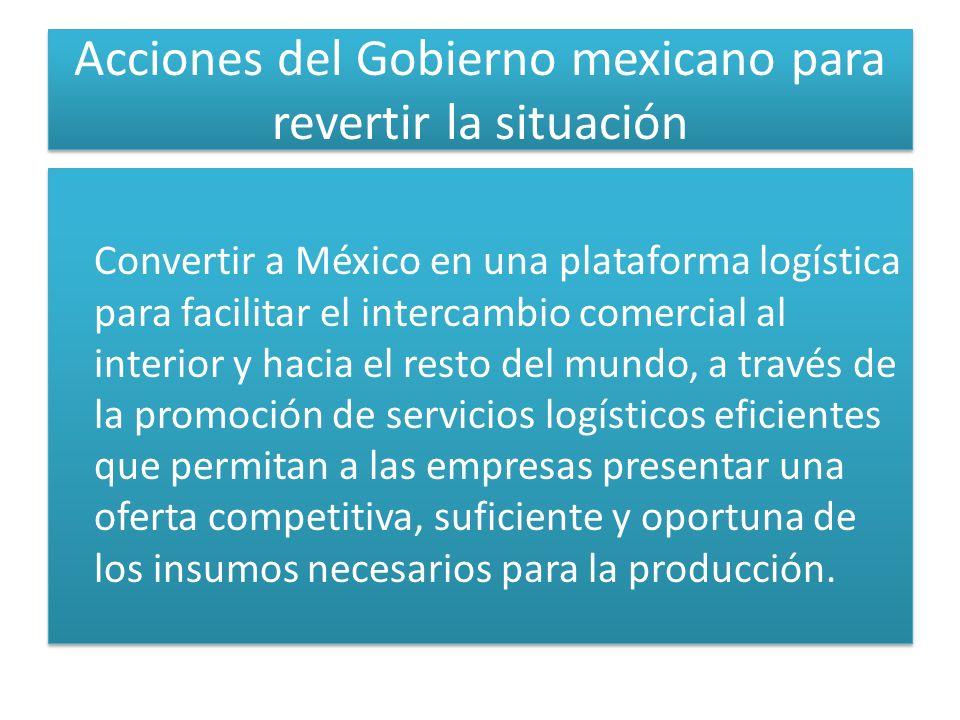 Acciones del Gobierno mexicano para revertir la situación Convertir a México en una plataforma logística para facilitar el intercambio comercial al in