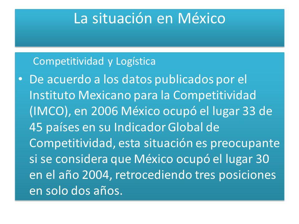 La situación en México Competitividad y Logística De acuerdo a los datos publicados por el Instituto Mexicano para la Competitividad (IMCO), en 2006 México ocupó el lugar 33 de 45 países en su Indicador Global de Competitividad, esta situación es preocupante si se considera que México ocupó el lugar 30 en el año 2004, retrocediendo tres posiciones en solo dos años.