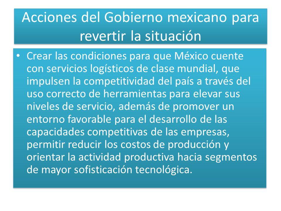 Acciones del Gobierno mexicano para revertir la situación Crear las condiciones para que México cuente con servicios logísticos de clase mundial, que