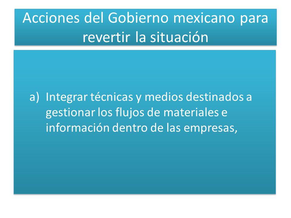 Acciones del Gobierno mexicano para revertir la situación a)Integrar técnicas y medios destinados a gestionar los flujos de materiales e información dentro de las empresas,