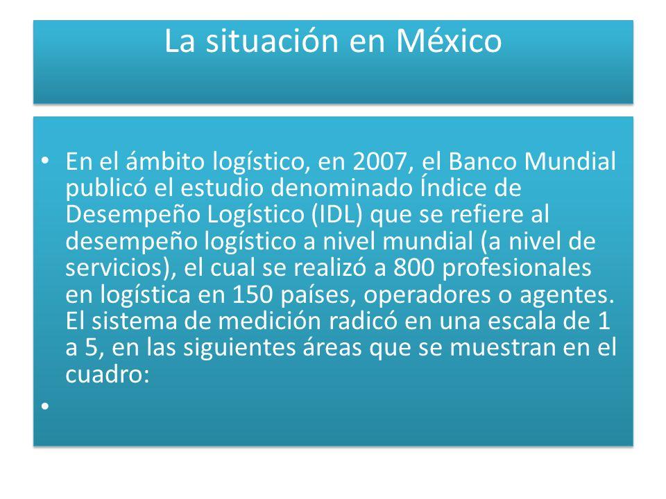 La situación en México En el ámbito logístico, en 2007, el Banco Mundial publicó el estudio denominado Índice de Desempeño Logístico (IDL) que se refiere al desempeño logístico a nivel mundial (a nivel de servicios), el cual se realizó a 800 profesionales en logística en 150 países, operadores o agentes.