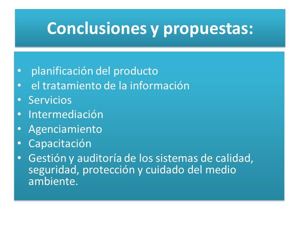 Conclusiones y propuestas: planificación del producto el tratamiento de la información Servicios Intermediación Agenciamiento Capacitación Gestión y auditoría de los sistemas de calidad, seguridad, protección y cuidado del medio ambiente.