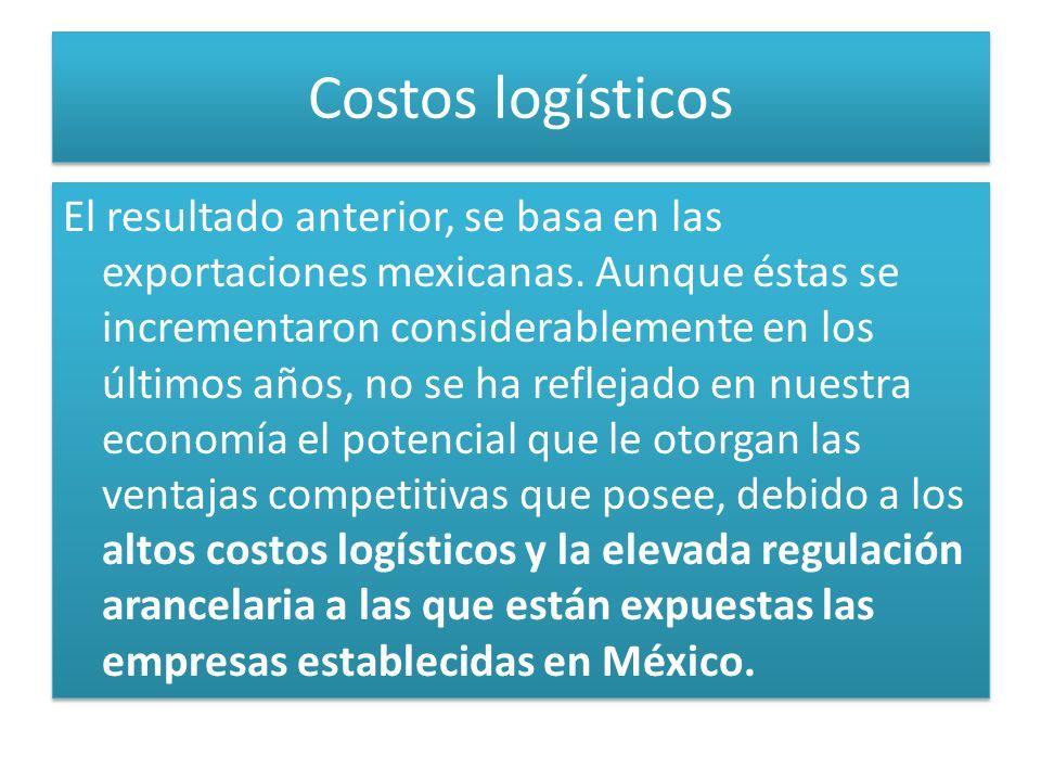 Costos logísticos El resultado anterior, se basa en las exportaciones mexicanas. Aunque éstas se incrementaron considerablemente en los últimos años,