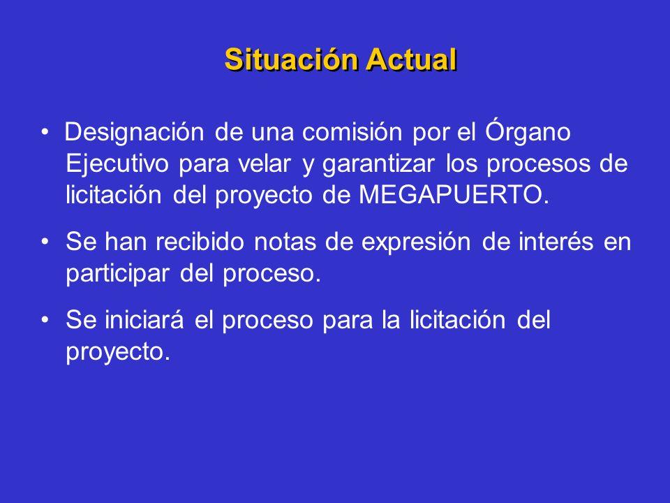Situación Actual Designación de una comisión por el Órgano Ejecutivo para velar y garantizar los procesos de licitación del proyecto de MEGAPUERTO. Se