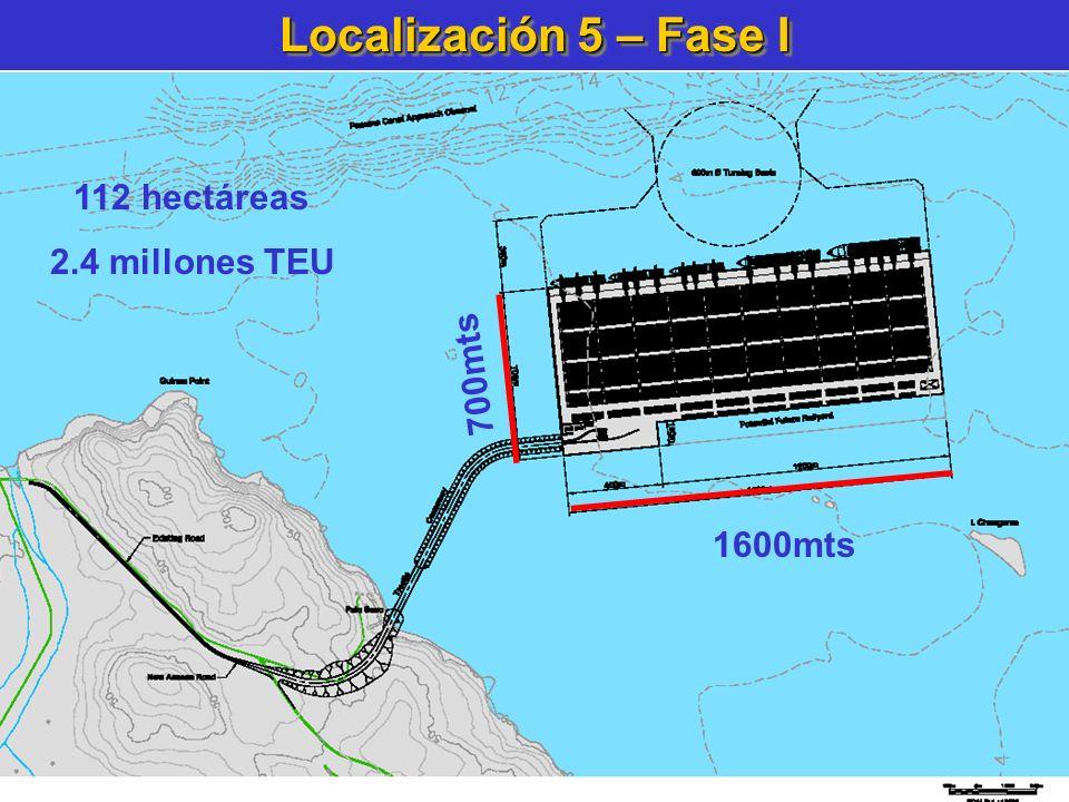 Localización 5 – Fase I 1600mts 700mts 112 hectáreas 2.4 millones TEU