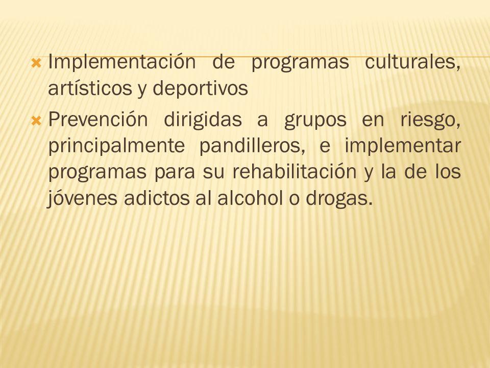 Implementación de programas culturales, artísticos y deportivos Prevención dirigidas a grupos en riesgo, principalmente pandilleros, e implementar programas para su rehabilitación y la de los jóvenes adictos al alcohol o drogas.