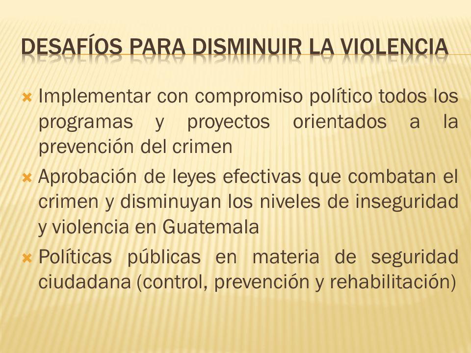 Implementar con compromiso político todos los programas y proyectos orientados a la prevención del crimen Aprobación de leyes efectivas que combatan el crimen y disminuyan los niveles de inseguridad y violencia en Guatemala Políticas públicas en materia de seguridad ciudadana (control, prevención y rehabilitación)
