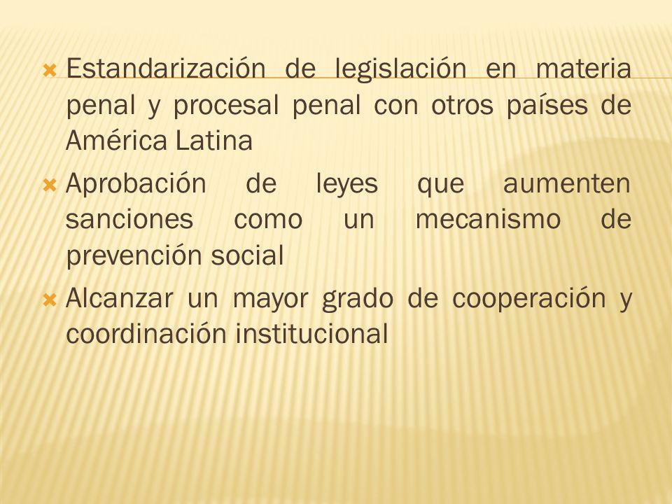Estandarización de legislación en materia penal y procesal penal con otros países de América Latina Aprobación de leyes que aumenten sanciones como un mecanismo de prevención social Alcanzar un mayor grado de cooperación y coordinación institucional