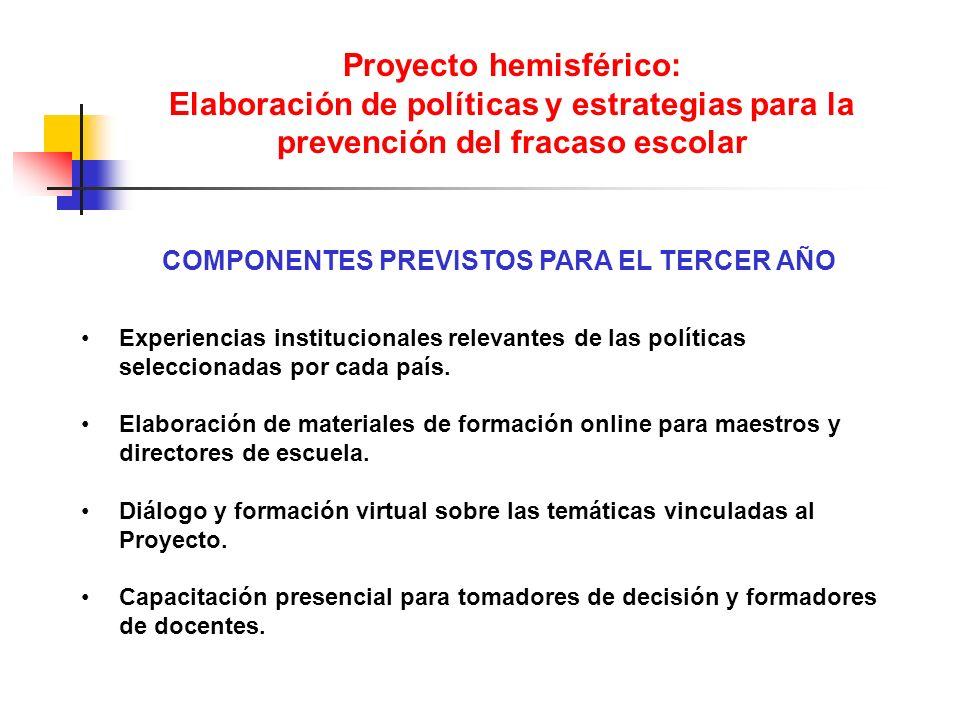 Proyecto hemisférico: Elaboración de políticas y estrategias para la prevención del fracaso escolar Experiencias institucionales relevantes de las pol