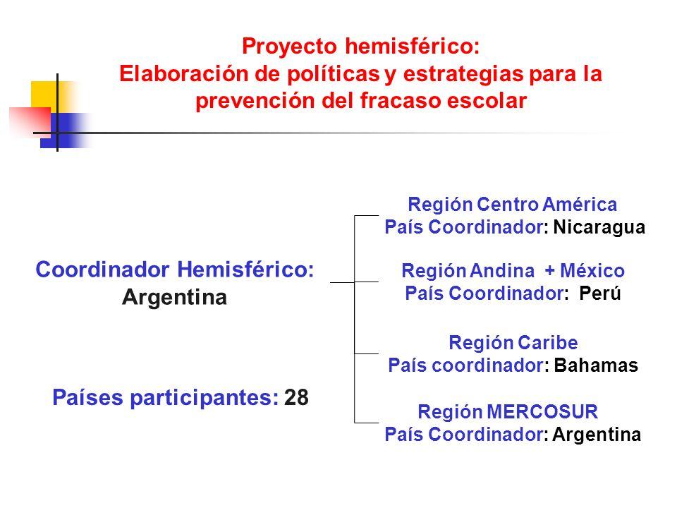 Proyecto hemisférico: Elaboración de políticas y estrategias para la prevención del fracaso escolar Coordinador Hemisférico: Argentina Región MERCOSUR