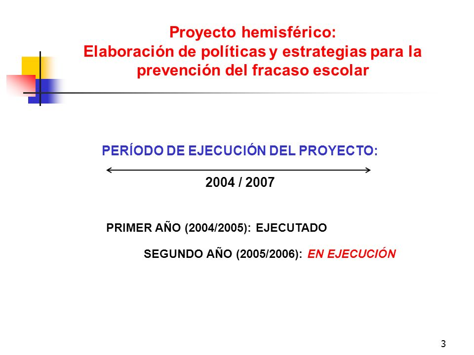 3 PERÍODO DE EJECUCIÓN DEL PROYECTO: 2004 / 2007 Proyecto hemisférico: Elaboración de políticas y estrategias para la prevención del fracaso escolar P