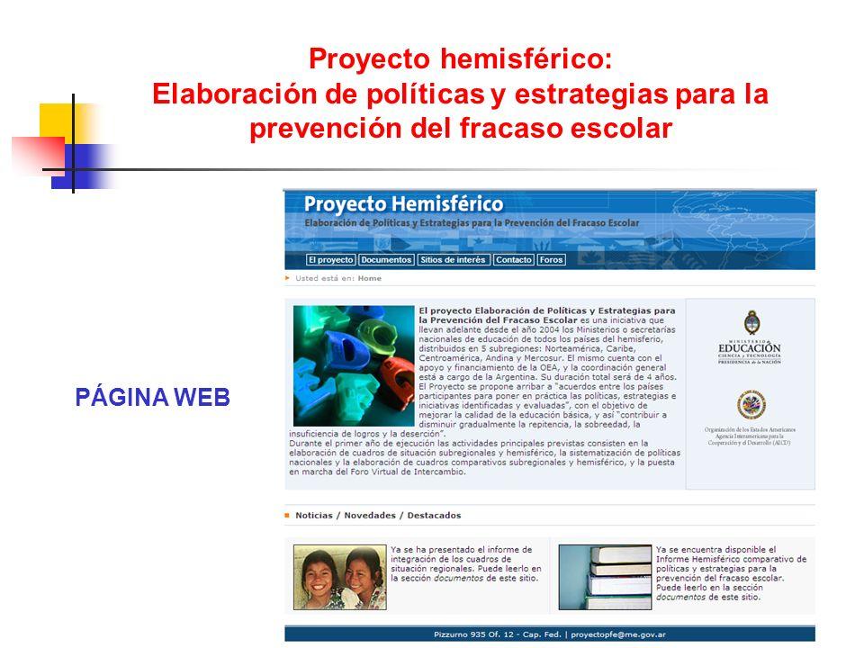 Proyecto hemisférico: Elaboración de políticas y estrategias para la prevención del fracaso escolar PÁGINA WEB