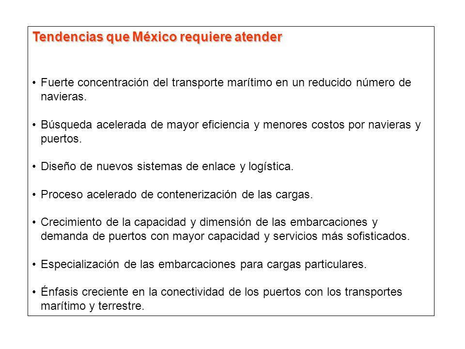 Tendencias que México requiere atender Fuerte concentración del transporte marítimo en un reducido número de navieras. Búsqueda acelerada de mayor efi