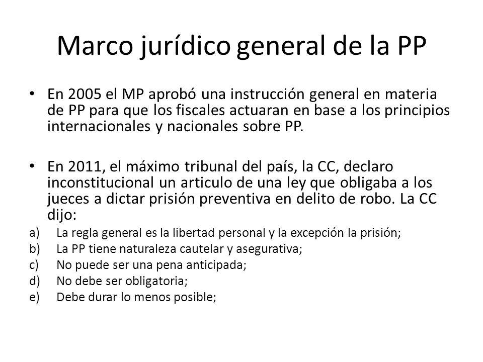 Marco jurídico general de la PP En 2005 el MP aprobó una instrucción general en materia de PP para que los fiscales actuaran en base a los principios internacionales y nacionales sobre PP.