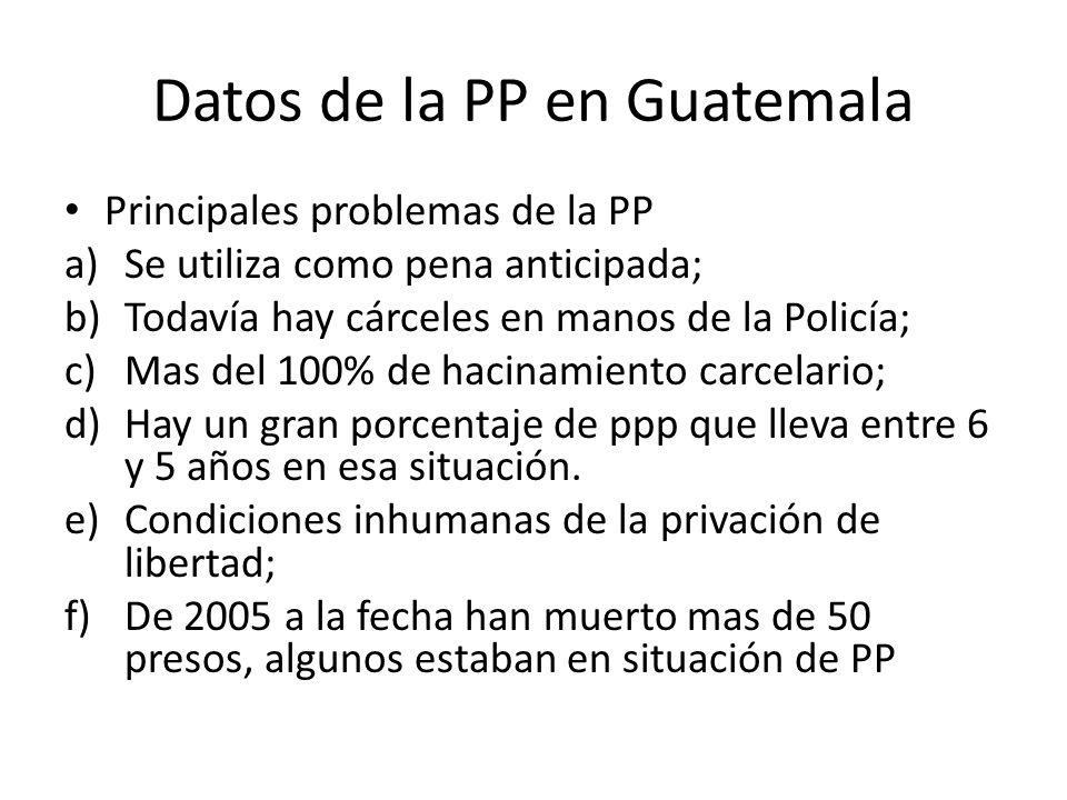 Datos de la PP en Guatemala Principales problemas de la PP a)Se utiliza como pena anticipada; b)Todavía hay cárceles en manos de la Policía; c)Mas del 100% de hacinamiento carcelario; d)Hay un gran porcentaje de ppp que lleva entre 6 y 5 años en esa situación.