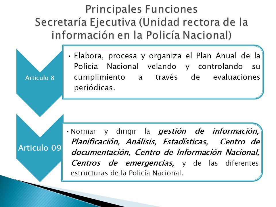 Articulo 8 Elabora, procesa y organiza el Plan Anual de la Policía Nacional velando y controlando su cumplimiento a través de evaluaciones periódicas.