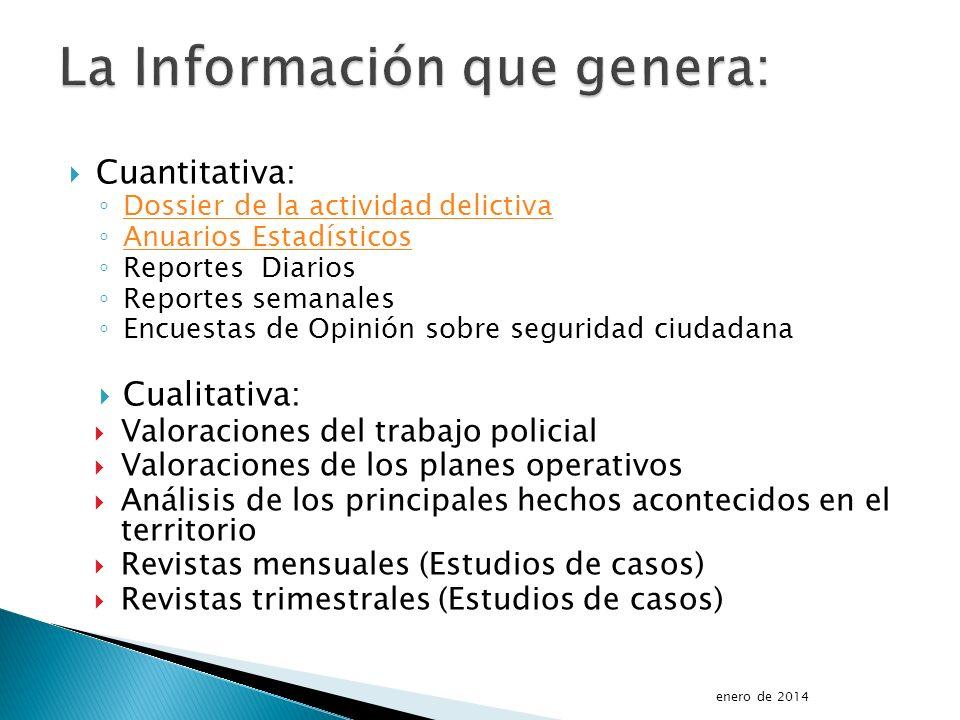 Cuantitativa: Dossier de la actividad delictiva Anuarios Estadísticos Reportes Diarios Reportes semanales Encuestas de Opinión sobre seguridad ciudada