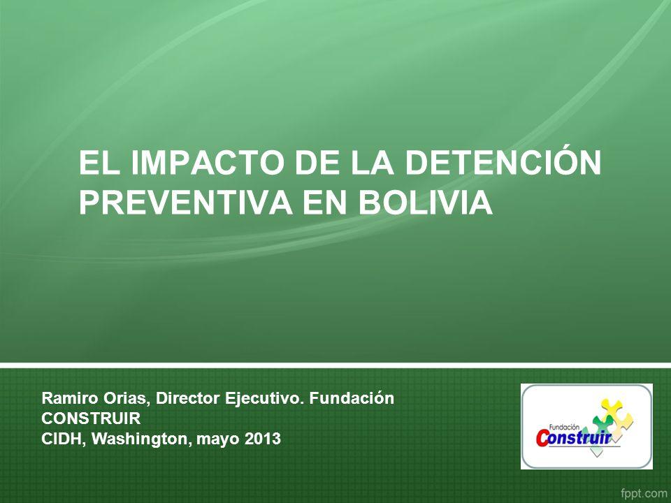 La Prisión Preventiva en Bolivia AÑO TOTAL POBLACIÓN CARCELARIA A NIVEL NACIONAL POBLACIÓN CARCELARIA CON SENTENCIA POBLACIÓN CARCELARIA CON DETENCIÓN PREVENTIVA POBLACIÓN CARCELARIA CON SENTENCIA POBLACIÓN CARCELARIA CON DETENCIÓN PREVENTIVA 200155771830374733%67% 200260652133393235%65% 200356691235443422%78% 200464951705479026%74% 200567931764502926%74% 200670311799523226%74% 200776832011567226%74% 200874332193524030%70% 200980731999607425%75% 201094062147725923%77% 2011115161890962616%84% 20121427221101216215%85% Cuando la Reforma entró en vigencia la población carcelaria en el país era de 5.577 personas.