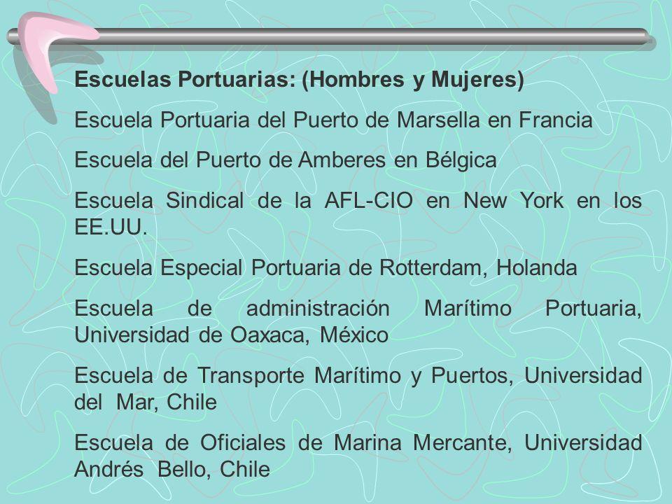 Escuelas Portuarias: (Hombres y Mujeres) Escuela Portuaria del Puerto de Marsella en Francia Escuela del Puerto de Amberes en Bélgica Escuela Sindical de la AFL-CIO en New York en los EE.UU.