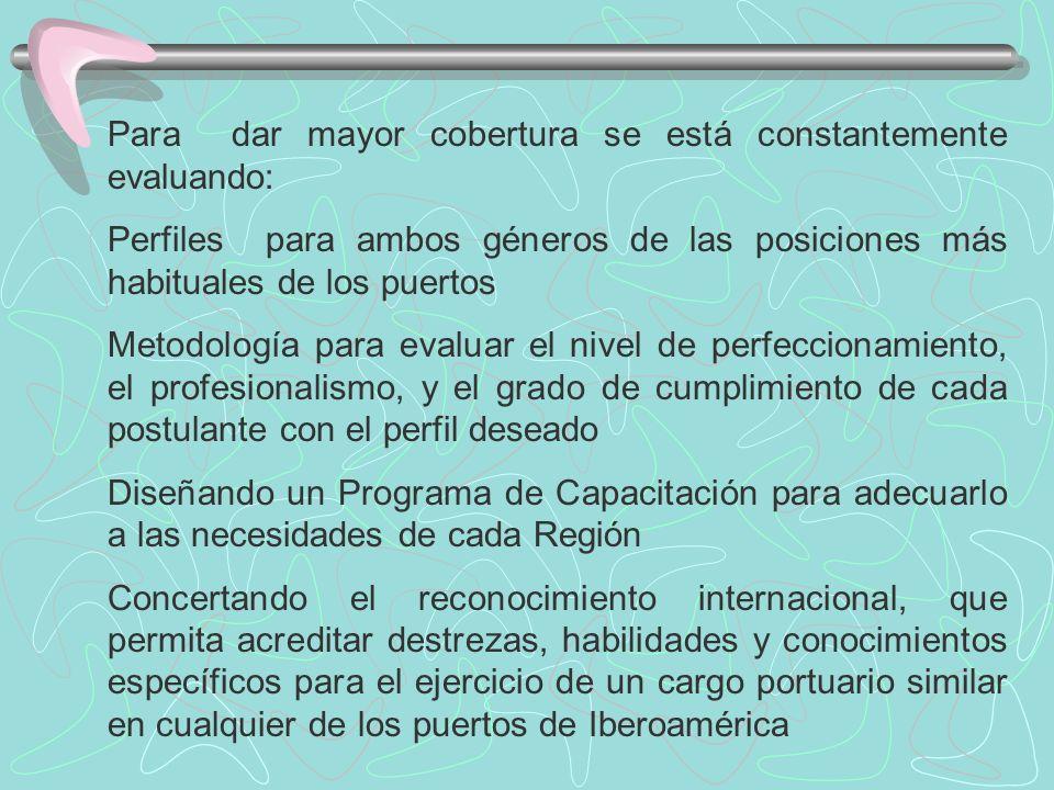 Para dar mayor cobertura se está constantemente evaluando: Perfiles para ambos géneros de las posiciones más habituales de los puertos Metodología para evaluar el nivel de perfeccionamiento, el profesionalismo, y el grado de cumplimiento de cada postulante con el perfil deseado Diseñando un Programa de Capacitación para adecuarlo a las necesidades de cada Región Concertando el reconocimiento internacional, que permita acreditar destrezas, habilidades y conocimientos específicos para el ejercicio de un cargo portuario similar en cualquier de los puertos de Iberoamérica