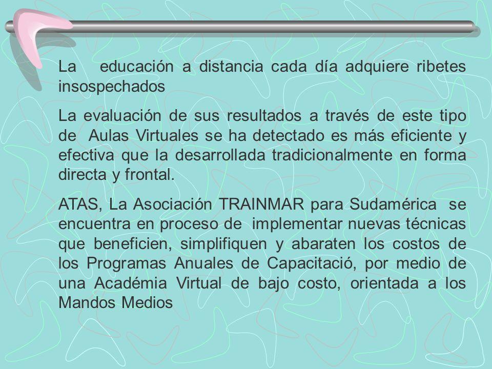 La educación a distancia cada día adquiere ribetes insospechados La evaluación de sus resultados a través de este tipo de Aulas Virtuales se ha detectado es más eficiente y efectiva que la desarrollada tradicionalmente en forma directa y frontal.