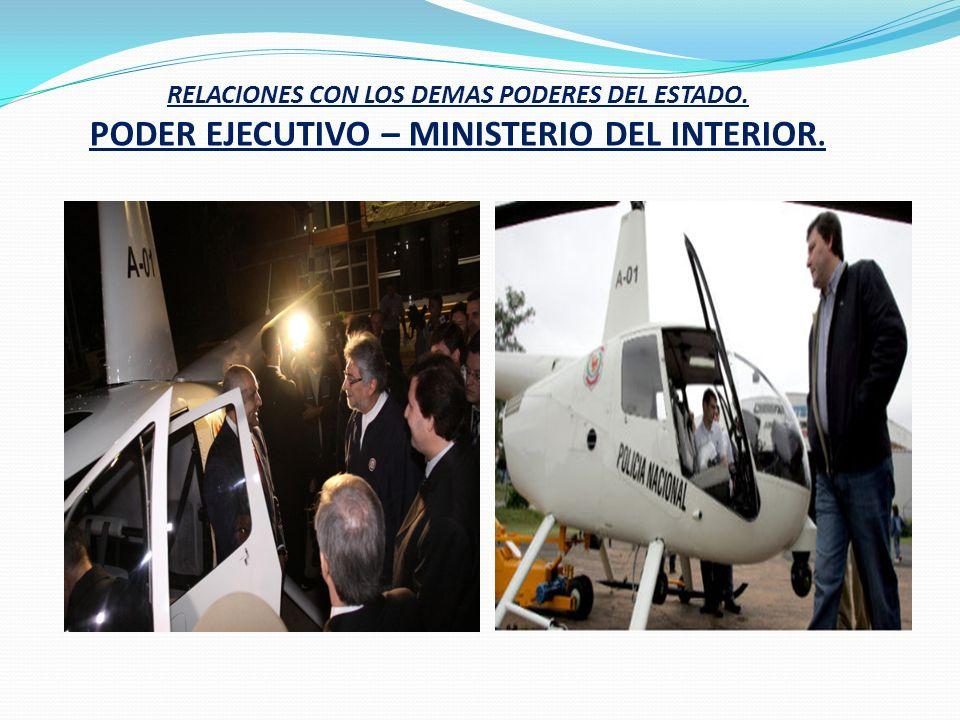 RELACIONES CON LOS DEMAS PODERES DEL ESTADO. PODER EJECUTIVO – MINISTERIO DEL INTERIOR.