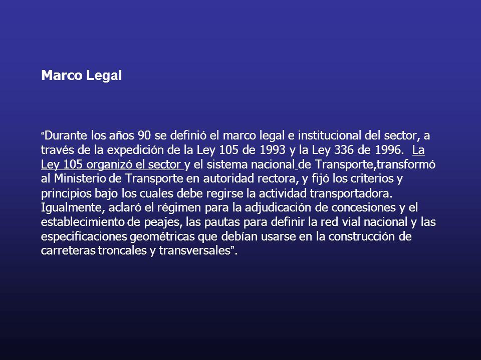 Marco Legal Durante los a ñ os 90 se defini ó el marco legal e institucional del sector, a trav é s de la expedici ó n de la Ley 105 de 1993 y la Ley